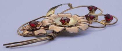 Harry Iskin 1940s Red Flower Statement Brooch