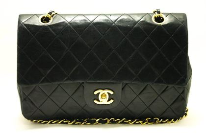 Chanel 2.55 Black Quilted Double Flap Medium Chain Shoulder Bag