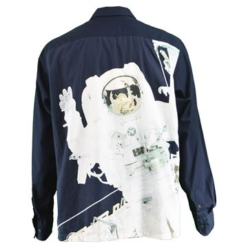 Paul Smith 1990s Dark Blue Astronaut Print Vintage Shirt