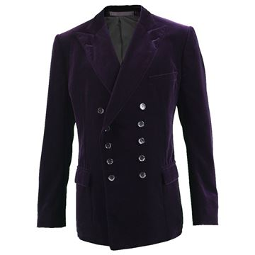 Gucci Men's Dark Purple Double Breasted Velvet Jacket