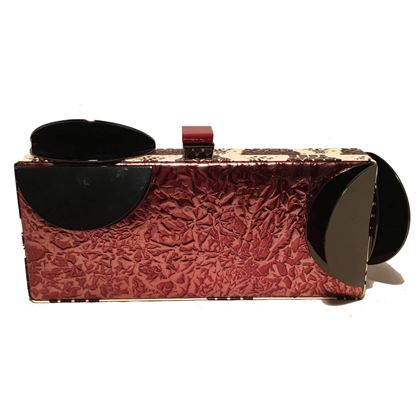Tonya Hawkes Copper Leather Cow Print Faux Snakeskin Metal Abstract Clutch