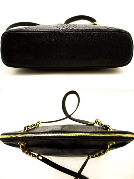 chanel-caviar-large-chain-shoulder-bag-black-leather-gold-zipper