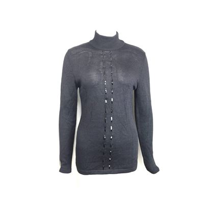 claude-montana-black-wool-patent-leather-trim-high-neck-pullover-sweater