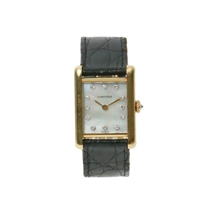 Cartier Black 18K Diamond Square Shell Face Watch