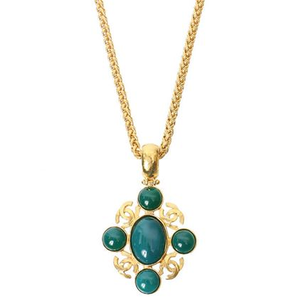 chanel-cc-mark-stone-long-chain-necklace-green-2