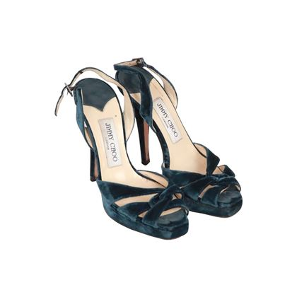 Jimmy Choo Teal Velvet Slingback Sandals Shoes Heels Pumps Size 35