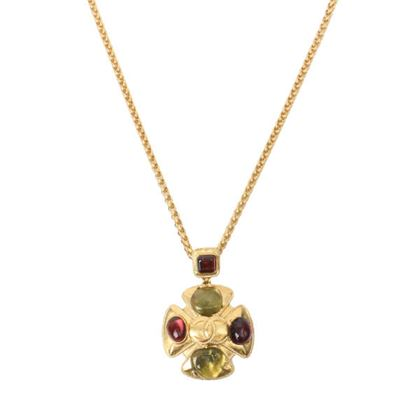 chanel-gripoix-clover-design-cc-mark-necklace-bordeauxgreengold