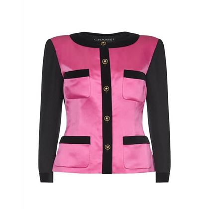 chanel-1980s-pink-and-black-satin-blazer