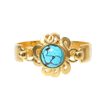 Chanel Stone Flower Design CC Mark Bangle Turquoise Blue