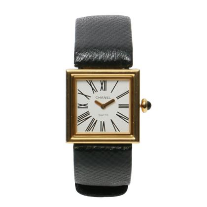 Chanel 18K Matelasse Watch in Gold & Black