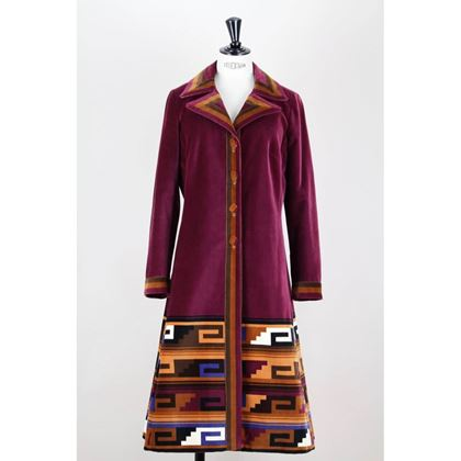 Picture of Roberta di Camerino 1970s Aztec Design Wine-Red Velvet Coat