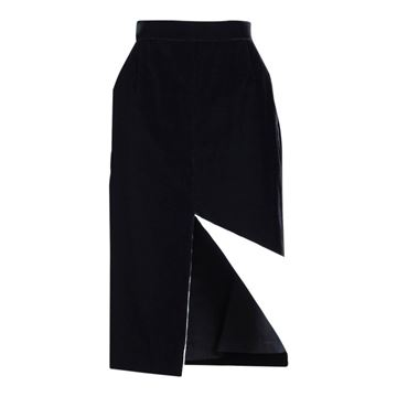 Ara Modell 1980s Black Velvet Pencil Slit Skirt