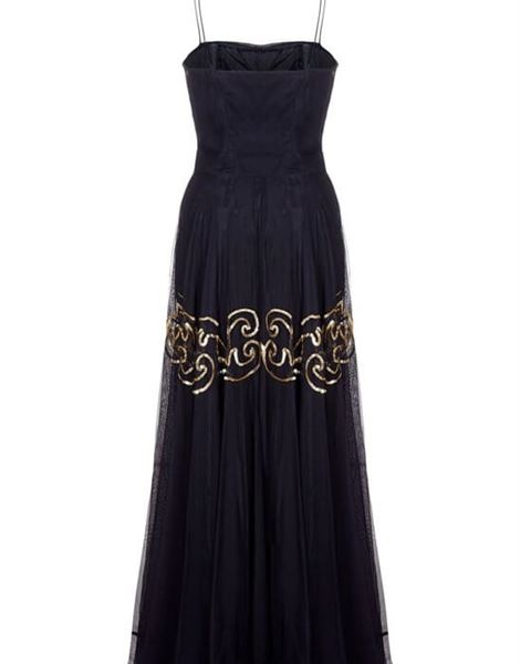 fred-perlberg-1940s-black-and-gold-chiffon-evening-dress-with-matching-gloves