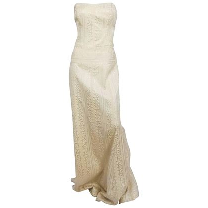 1990s-nicole-miller-strapless-ivory-jacquard-dress