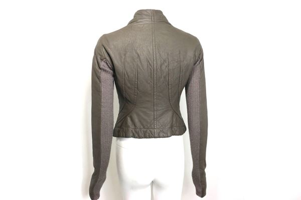 rick-owens-taupe-grey-distressed-leather-with-knitted-wool-cropped-jacket