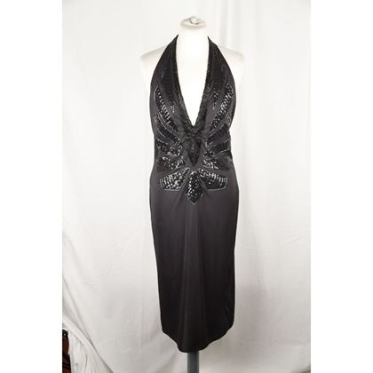 mugler-black-beaded-halterneck-dress-deep-v-neckline-size-l