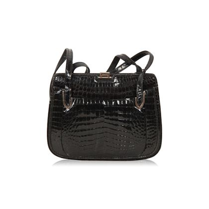 gucci-vintage-black-crocodile-leather-shoulder-bag
