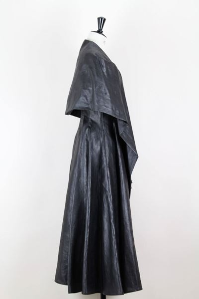 Yohji Yamamoto 1990s Charcoal Grey Coated Silk Dress With Draped Capelet Collar