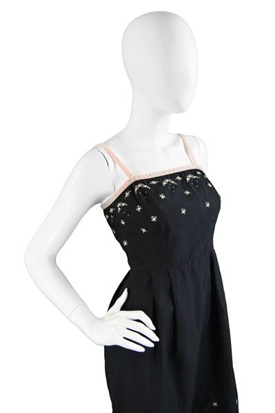 Anne Valore 1960s Black Floral Embroidery Dress
