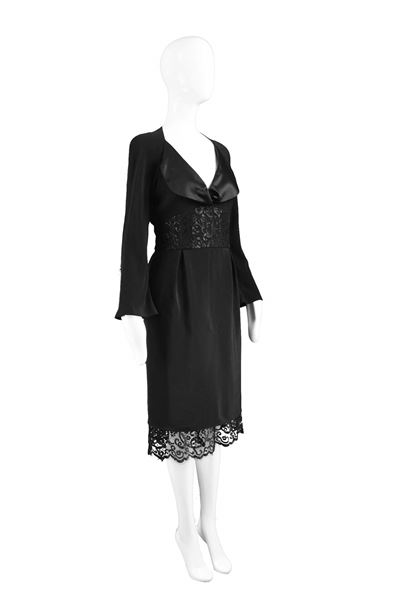 Christian Lacroix 1990s Lace & Satin Crepe Dress