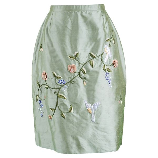 Bellville Sassoon 1980s Embroidered Silk Skirt