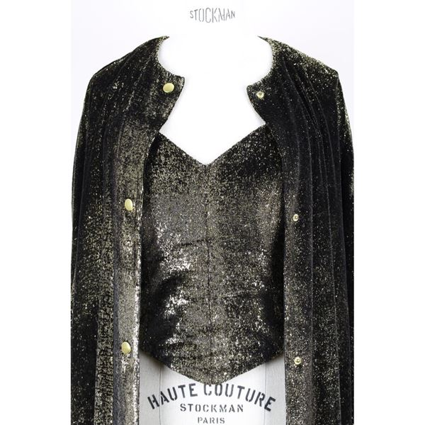 Vintage Black & Gold Lurex Velvet Bustier & Coat Evening Ensemble