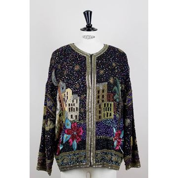 Picture of Laurence Kazar 1980s Black Silk Oriental Motif Multi-Coloured Sequined & Beaded Evening Jacket