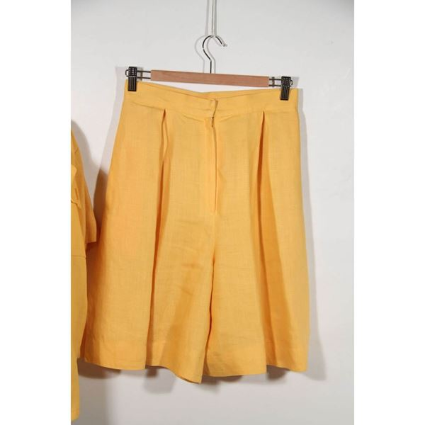 givenchy-vintage-yellow-short-sleeve-jacket-shirt-and-skirt-set
