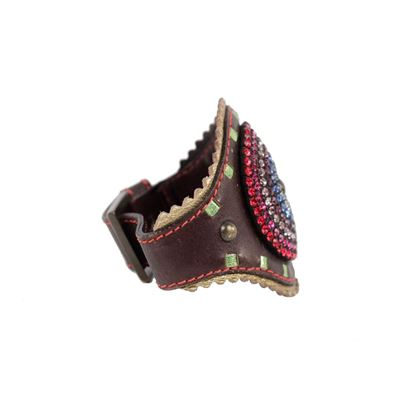 giuseppe-zanotti-brown-leather-cuff-bracelet-with-rhinestones