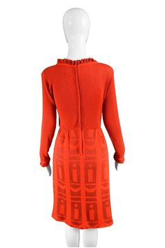 Louis Feraud 1970s Red Long Sleeve Party Dress