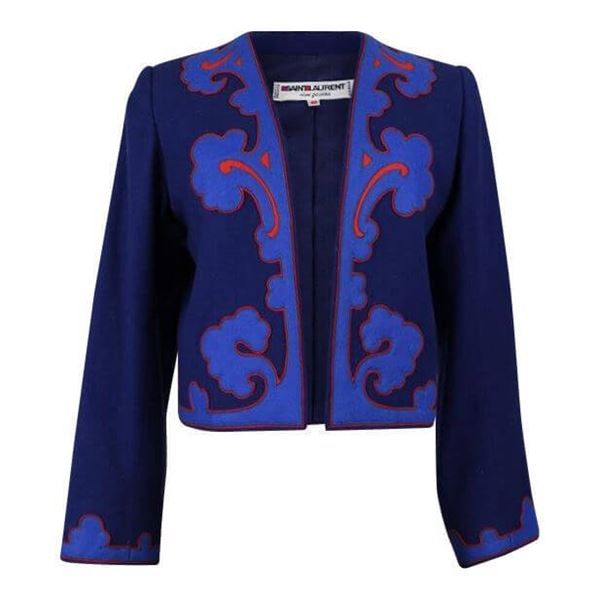 Picture of Yves Saint Laurent 1978 Wool Appliquéd Blue and Red Vintage Jacket Blazer Bolero Size S