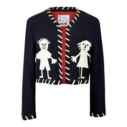 "Picture of Moschino 1980s ""Girl & Boy"" Pictogram Appliquéd Black Wool Cropped Bolero Jacket Blazer"