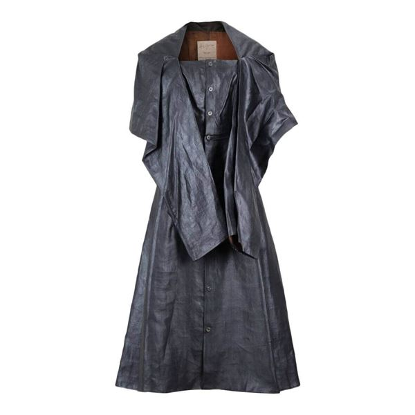 Picture of Yohji Yamamoto 1990s Charcoal Grey Coated Silk Dress With Draped Capelet Collar