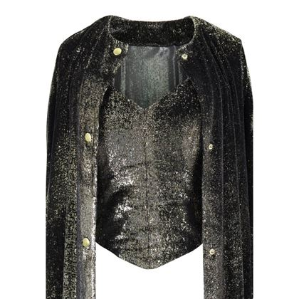 Picture of Vintage Black & Gold Lurex Velvet Bustier & Coat Evening Ensemble