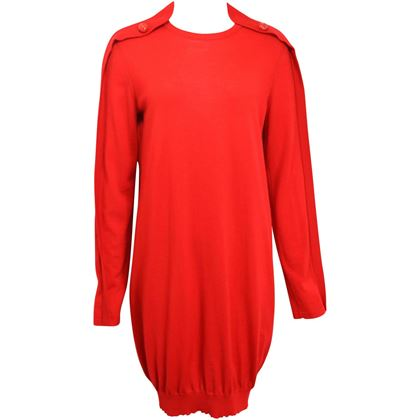 alexander-mcqueen-red-wool-tunic-dress