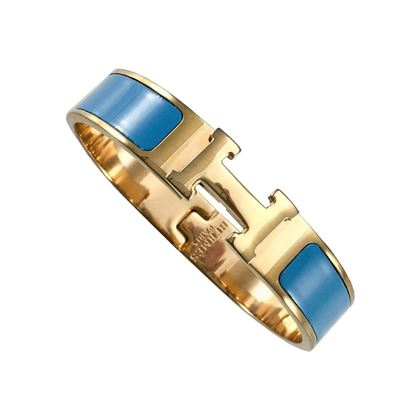 hermes-rose-gold-plated-clic-clac-h-blue-bracelet-2000s