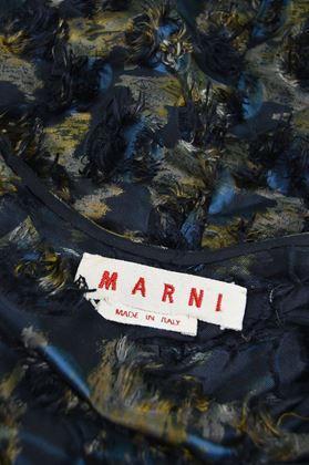 Marni 2010 Textured Short Sleeve Evening Dress