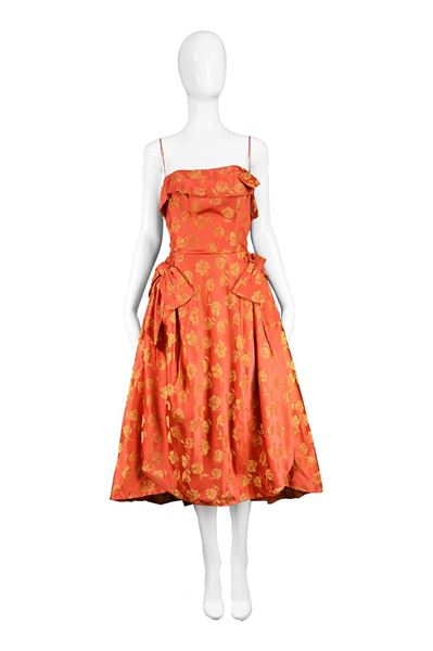 John Selby 1950s Red & Gold Panelled Dress