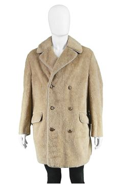 Vintage 1970s Faux Fur Double Breasted Coat