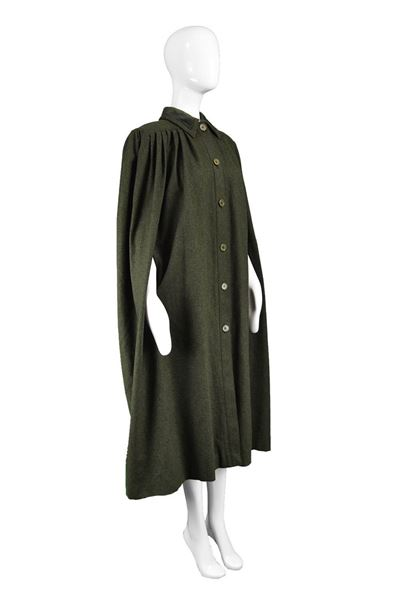 Valentino 1980s Dark Green Wool & Velvet Maxi Cape