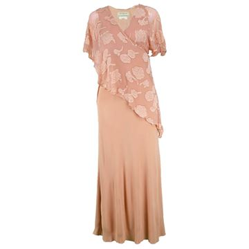 Janice Wainwright 1970s Chiffon & Jersey Maxi Dress