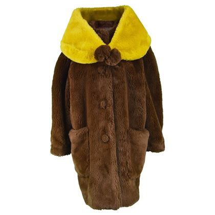 Jean Paul Gaultier 1980s Faux Fur Swing Coat & Wrap