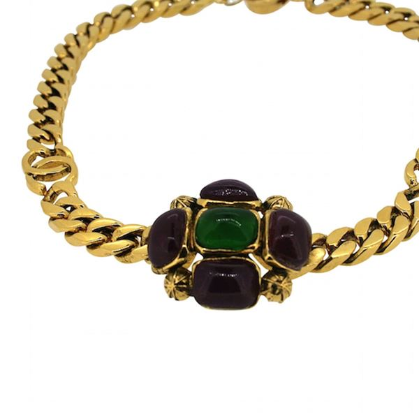 Chanel 1970s Gold Plated Gripoix Glass Vintage Necklace