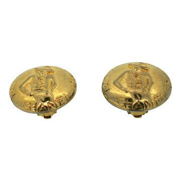 Chanel 1980s Vintage Gold Plated Coco Earrings