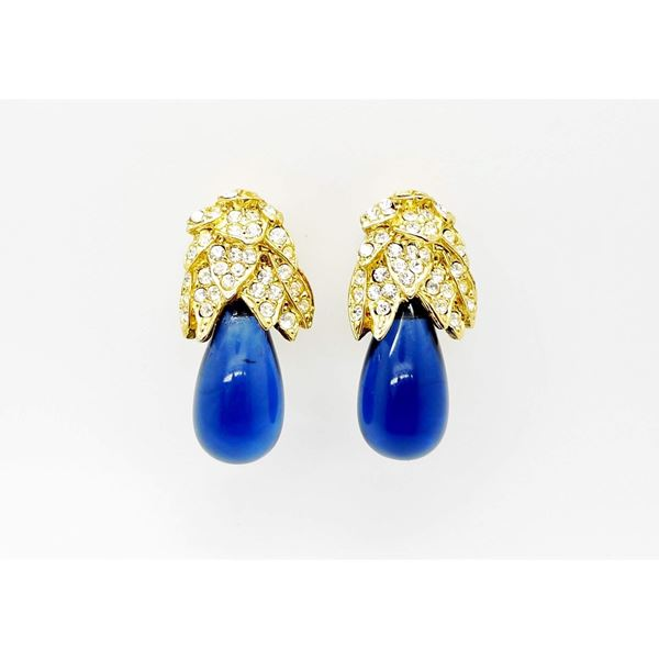 KENNETH LANE VINTAGE BLUE GOLD AND CRYSTAL DROP EARRINGS