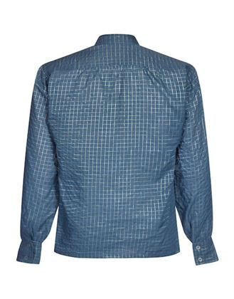 yves-saint-laurent-1970s-blue-and-gold-thread-checked-high-necked-blouse-uk-size-6