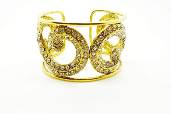 Nina Ricci Vintage Haute Couture Gold Crystal Cuff