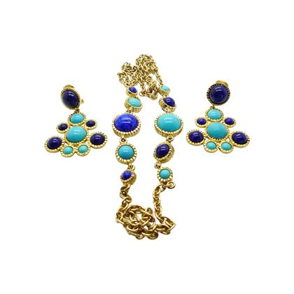 Kenneth Jay Lane Turquoise Necklace and Statement Earrings