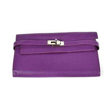 Hermes Kelly Wallet - Purple with Silver Detail