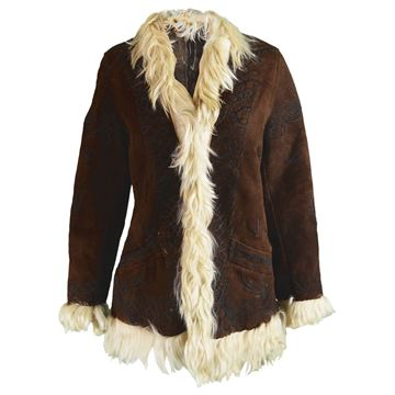 Vintage 1970s Brown Lambskin Afghan Coat